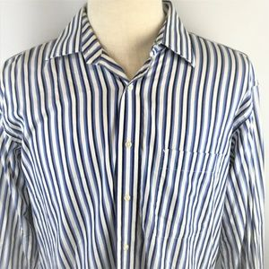 Tommy Hilfiger Mens Blue Striped Button Up Shirt L